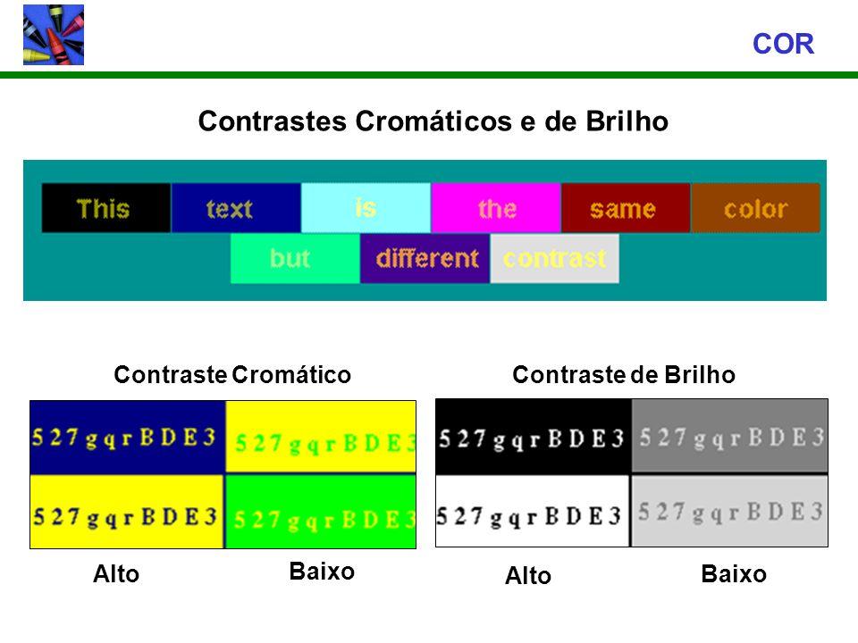 Contrastes Cromáticos e de Brilho COR Contraste Cromático Alto Baixo Contraste de Brilho Alto Baixo