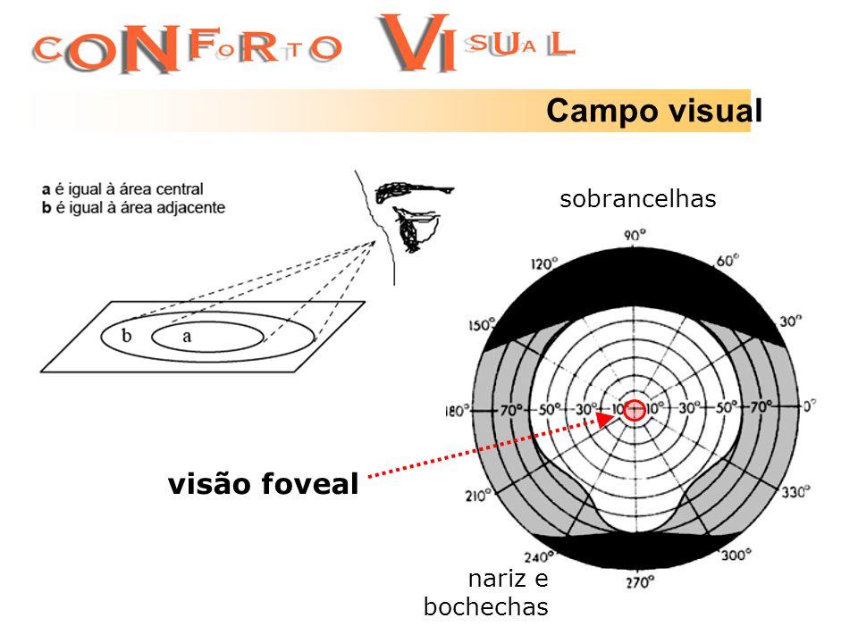 Campo visual visão foveal sobrancelhas nariz e bochechas