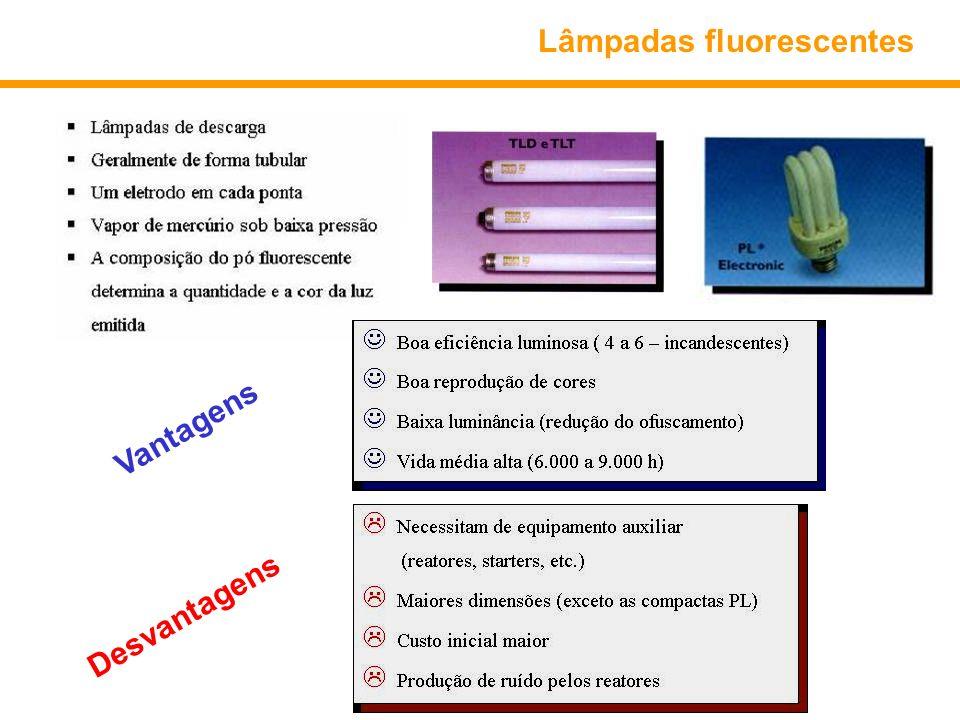 Lâmpadas fluorescentes Vantagens Desvantagens
