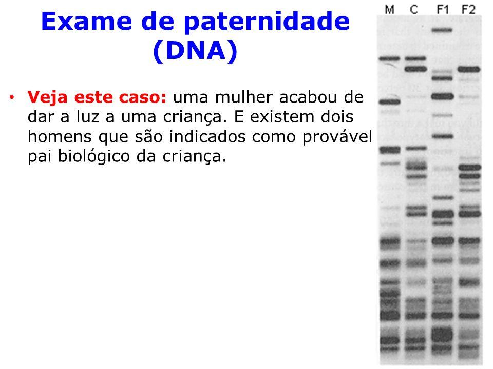 Exame de paternidade (DNA) Veja este caso: uma mulher acabou de dar a luz a uma criança.
