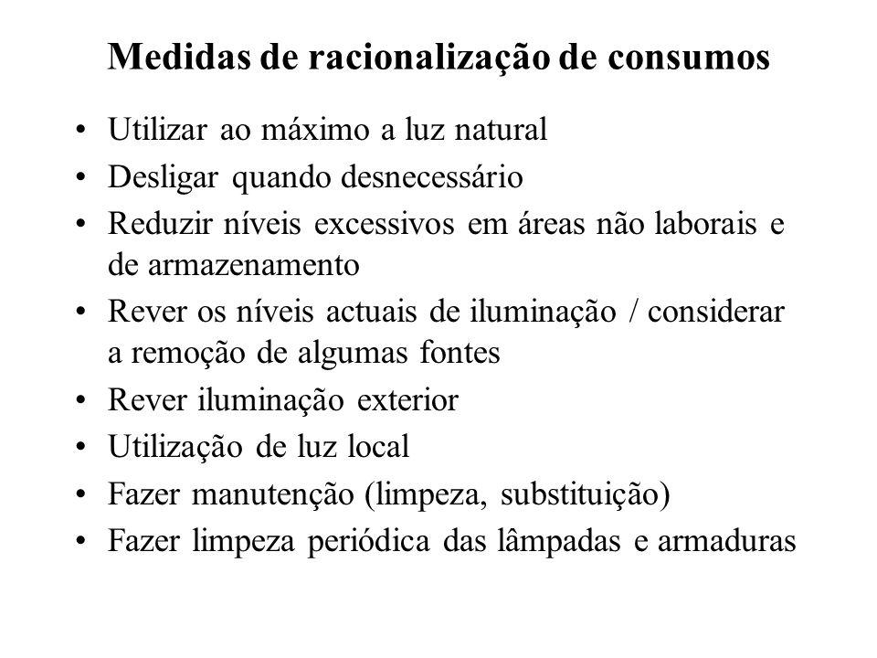 Medidas de racionalização de consumos Utilizar ao máximo a luz natural Desligar quando desnecessário Reduzir níveis excessivos em áreas não laborais e