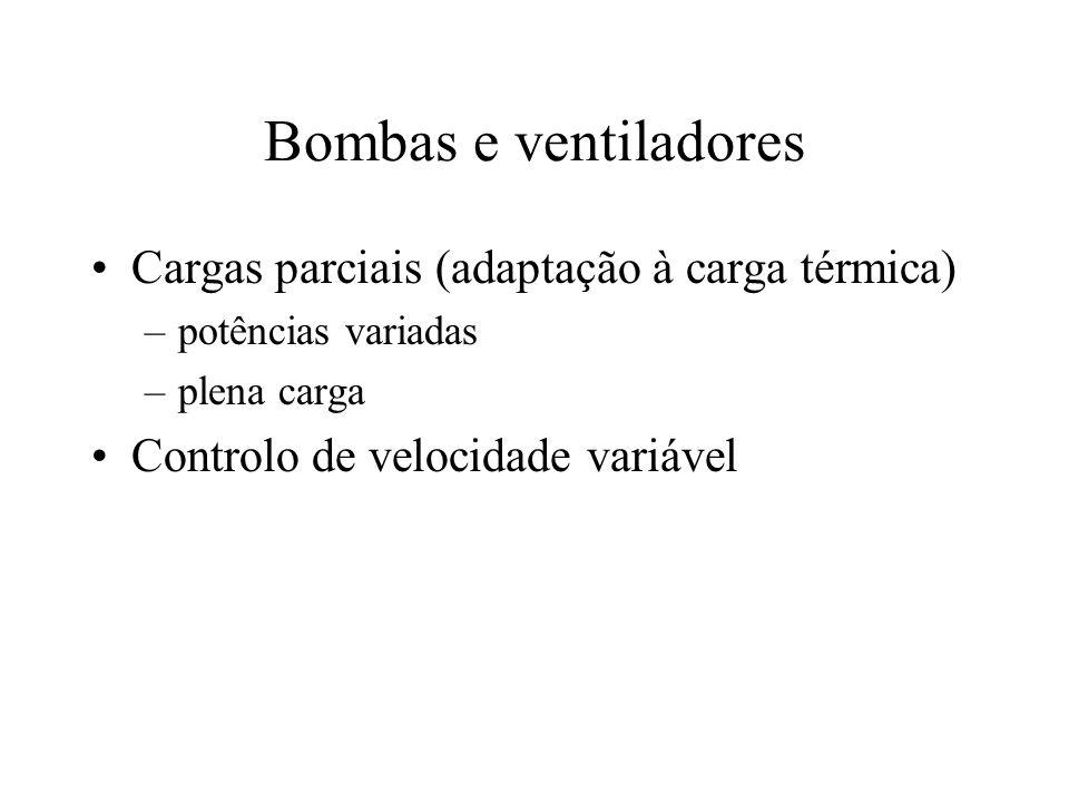Bombas e ventiladores Cargas parciais (adaptação à carga térmica) –potências variadas –plena carga Controlo de velocidade variável