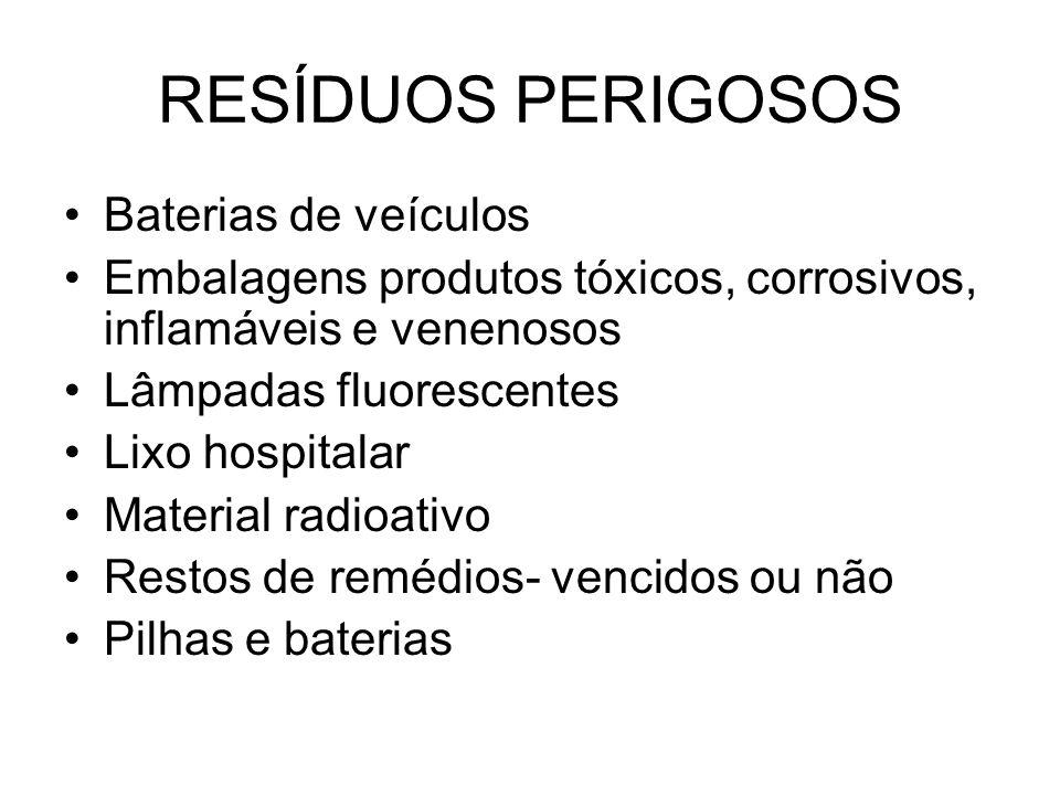 RESÍDUOS PERIGOSOS Baterias de veículos Embalagens produtos tóxicos, corrosivos, inflamáveis e venenosos Lâmpadas fluorescentes Lixo hospitalar Materi