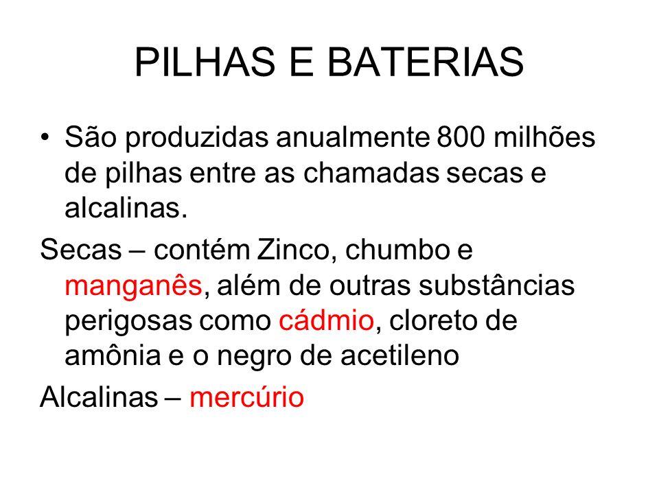 PILHAS E BATERIAS São produzidas anualmente 800 milhões de pilhas entre as chamadas secas e alcalinas. Secas – contém Zinco, chumbo e manganês, além d