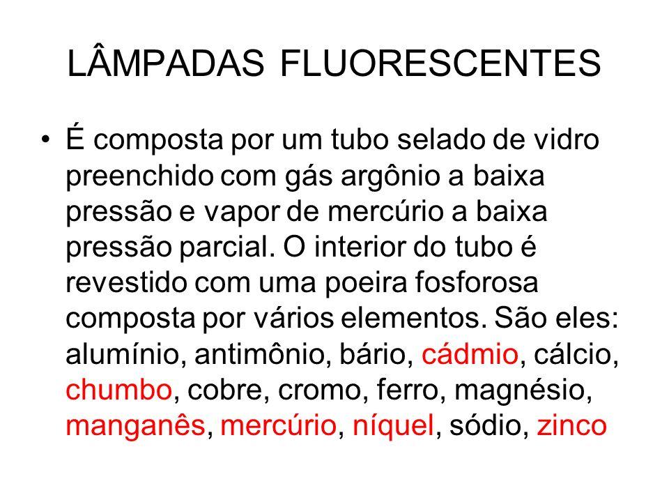 LÂMPADAS FLUORESCENTES É composta por um tubo selado de vidro preenchido com gás argônio a baixa pressão e vapor de mercúrio a baixa pressão parcial.