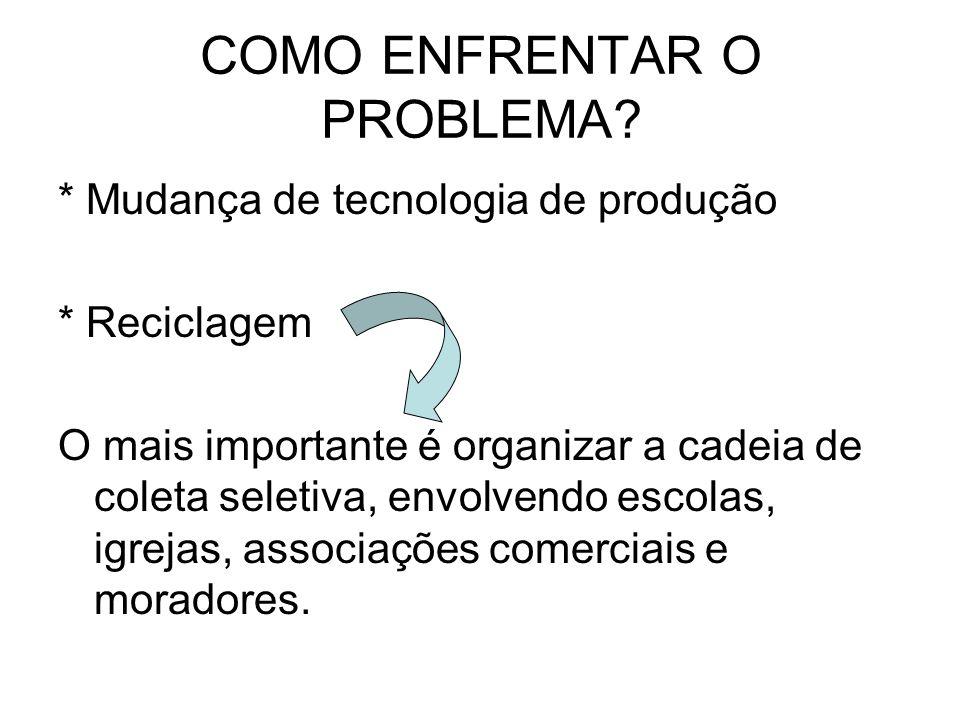 COMO ENFRENTAR O PROBLEMA? * Mudança de tecnologia de produção * Reciclagem O mais importante é organizar a cadeia de coleta seletiva, envolvendo esco