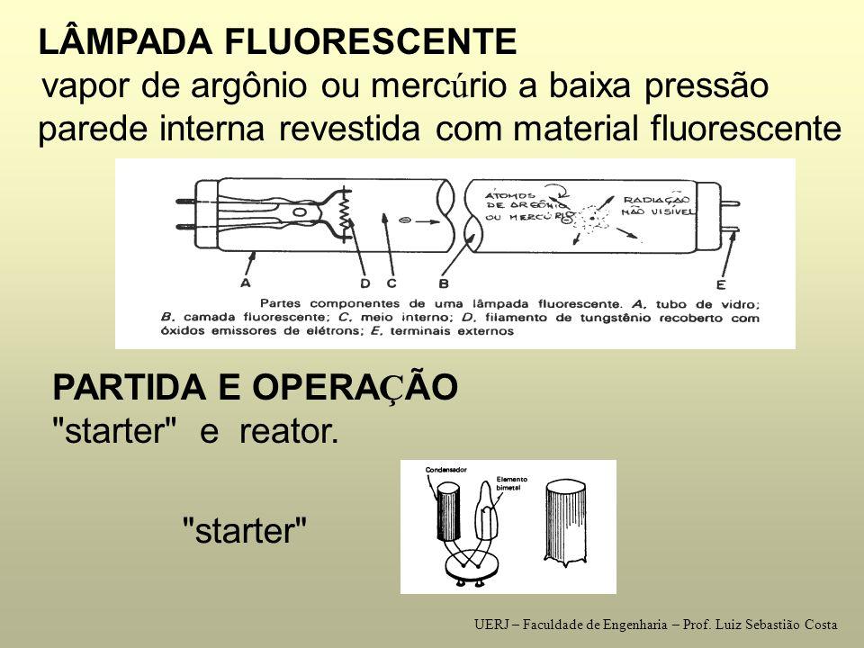 LÂMPADAS DE DESCARGA utilizam a descarga el é trica atrav é s de um g á s argônio, neônio, xenônio, h é lio, e vapores de merc ú rio e s ó dio.