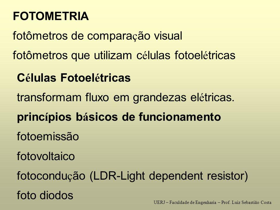FOTOMETRIA fotômetros de compara ç ão visual fotômetros que utilizam c é lulas fotoel é tricas C é lulas Fotoel é tricas transformam fluxo em grandezas el é tricas.