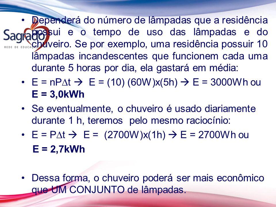 Dependerá do número de lâmpadas que a residência possui e o tempo de uso das lâmpadas e do chuveiro. Se por exemplo, uma residência possuir 10 lâmpada