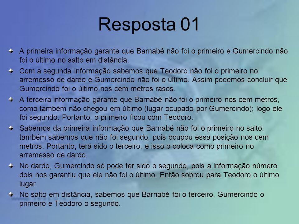 Resposta 01 A primeira informação garante que Barnabé não foi o primeiro e Gumercindo não foi o último no salto em distância. Com a segunda informação