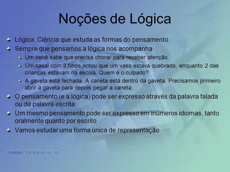Noções de Lógica Lógica: Ciência que estuda as formas do pensamento Sempre que pensamos a lógica nos acompanha Um bebê sabe que precisa chorar para re