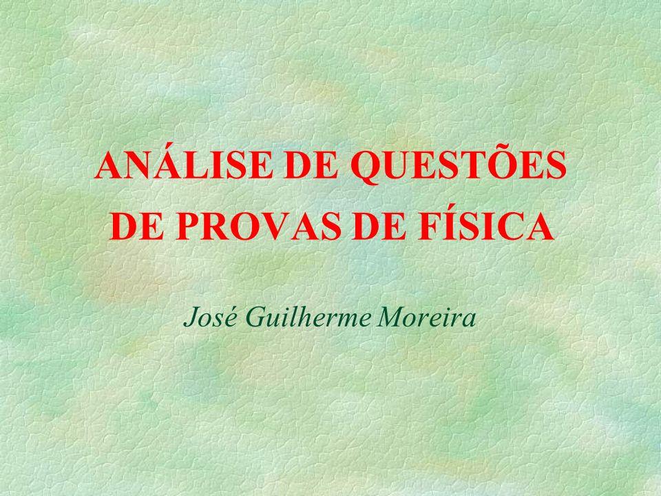 ANÁLISE DE QUESTÕES DE PROVAS DE FÍSICA José Guilherme Moreira