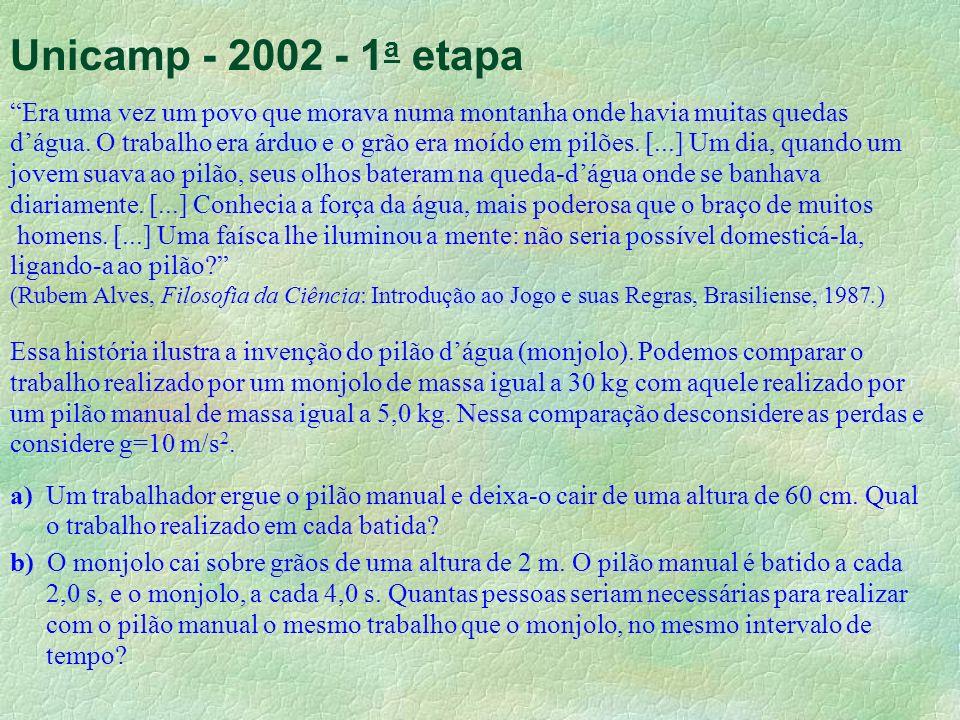 Unicamp - 2002 - 1 a etapa Era uma vez um povo que morava numa montanha onde havia muitas quedas dágua. O trabalho era árduo e o grão era moído em pil