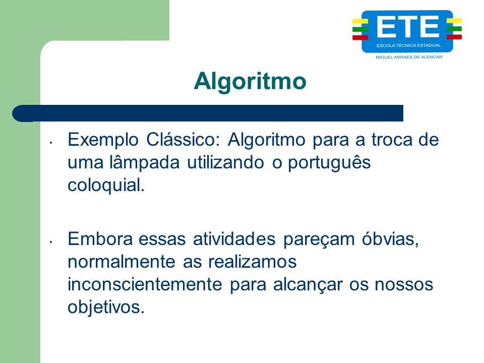 Algoritmo Exemplo Clássico: Algoritmo para a troca de uma lâmpada utilizando o português coloquial. Embora essas atividades pareçam óbvias, normalment