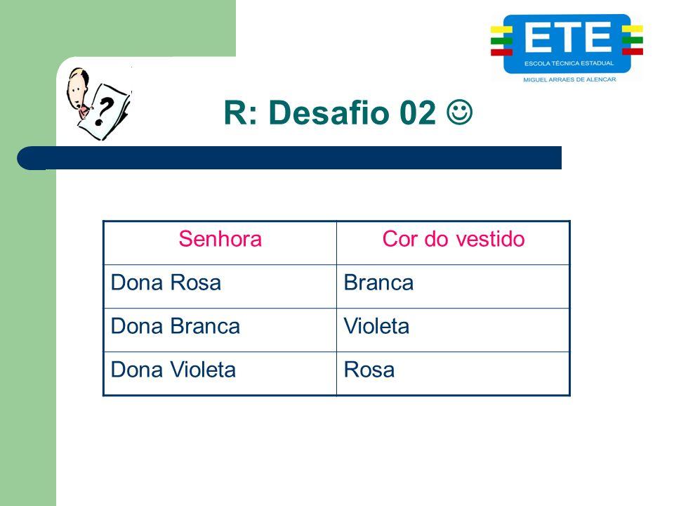R: Desafio 02 SenhoraCor do vestido Dona RosaBranca Dona BrancaVioleta Dona VioletaRosa