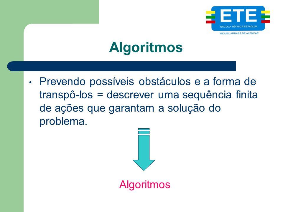 Algoritmos Prevendo possíveis obstáculos e a forma de transpô-los = descrever uma sequência finita de ações que garantam a solução do problema. Algori