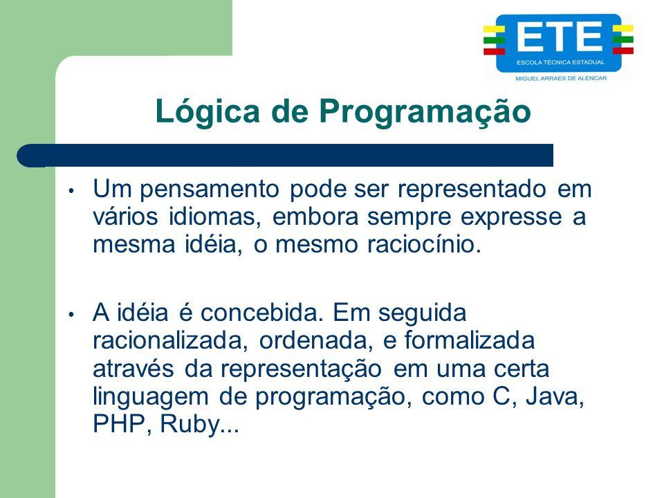 Lógica de Programação Um pensamento pode ser representado em vários idiomas, embora sempre expresse a mesma idéia, o mesmo raciocínio. A idéia é conce