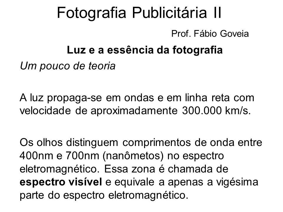 Fotografia Publicitária II Prof. Fábio Goveia Luz e a essência da fotografia Um pouco de teoria A luz propaga-se em ondas e em linha reta com velocida