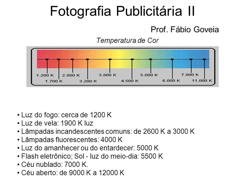 Fotografia Publicitária II Prof. Fábio Goveia Temperatura de Cor Luz do fogo: cerca de 1200 K Luz de vela: 1900 K luz Lâmpadas incandescentes comuns: