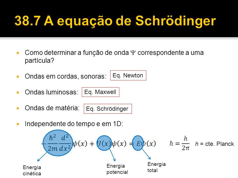 h = cte. Planck Como determinar a função de onda correspondente a uma partícula? Ondas em cordas, sonoras: Ondas luminosas: Ondas de matéria: Independ