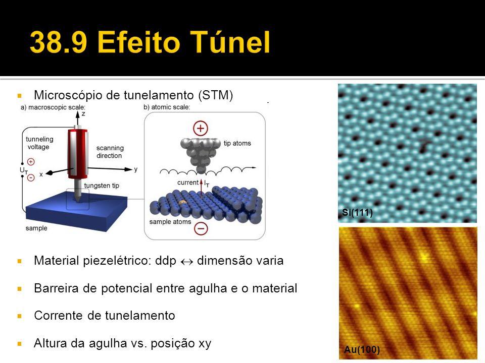 Microscópio de tunelamento (STM) Material piezelétrico: ddp dimensão varia Barreira de potencial entre agulha e o material Corrente de tunelamento Alt