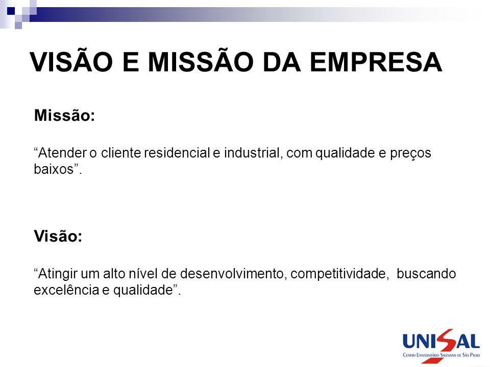 VISÃO E MISSÃO DA EMPRESA Missão: Atender o cliente residencial e industrial, com qualidade e preços baixos. Visão: Atingir um alto nível de desenvolv