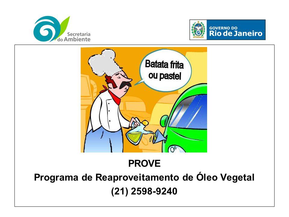 PROVE Programa de Reaproveitamento de Óleo Vegetal (21) 2598-9240