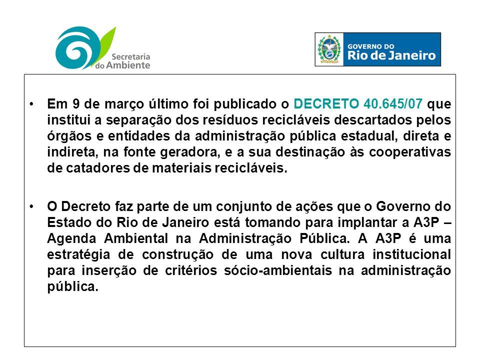 Em 9 de março último foi publicado o DECRETO 40.645/07 que institui a separação dos resíduos recicláveis descartados pelos órgãos e entidades da administração pública estadual, direta e indireta, na fonte geradora, e a sua destinação às cooperativas de catadores de materiais recicláveis.