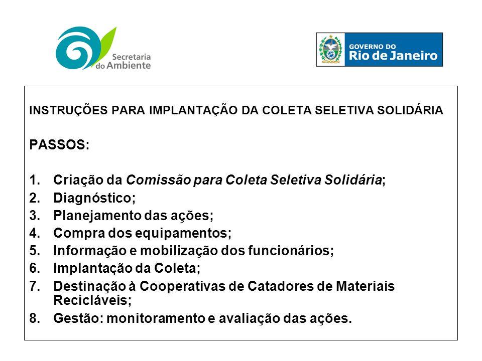 INSTRUÇÕES PARA IMPLANTAÇÃO DA COLETA SELETIVA SOLIDÁRIA PASSOS: 1.Criação da Comissão para Coleta Seletiva Solidária; 2.Diagnóstico; 3.Planejamento d