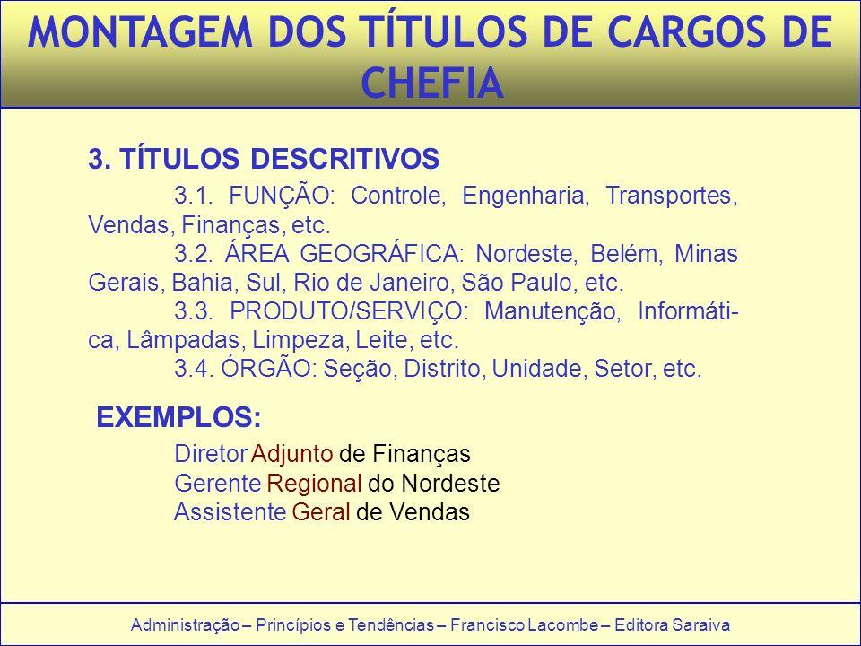 Administração – Princípios e Tendências – Francisco Lacombe – Editora Saraiva 3. TÍTULOS DESCRITIVOS 3.1. FUNÇÃO: Controle, Engenharia, Transportes, V