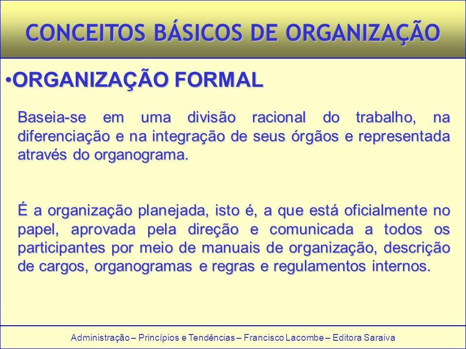 Administração – Princípios e Tendências – Francisco Lacombe – Editora Saraiva CONCEITOS BÁSICOS DE ORGANIZAÇÃO ORGANIZAÇÃO FORMALORGANIZAÇÃO FORMAL Baseia-se em uma divisão racional do trabalho, na diferenciação e na integração de seus órgãos e representada através do organograma.