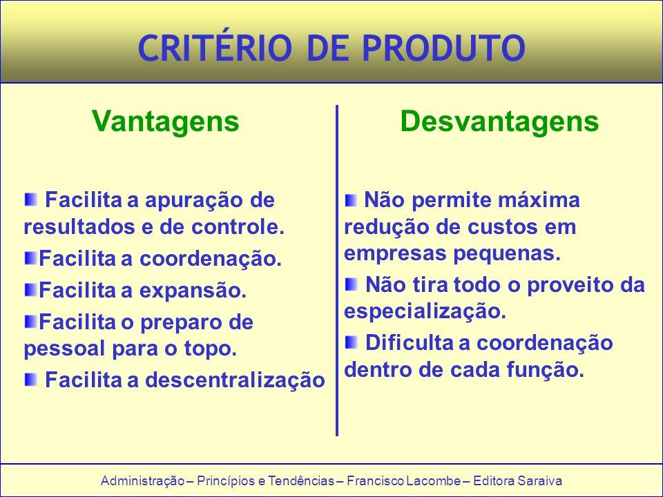 Administração – Princípios e Tendências – Francisco Lacombe – Editora Saraiva CRITÉRIO DE PRODUTO VantagensDesvantagens Facilita a apuração de resultados e de controle.