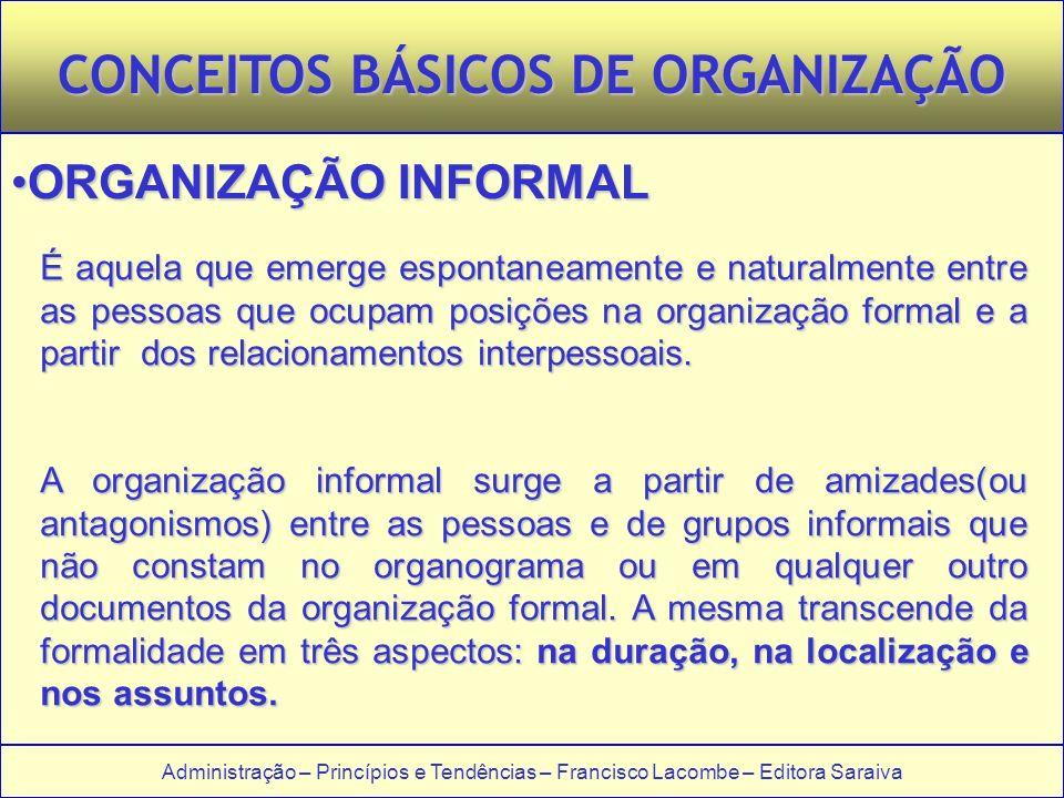 Administração – Princípios e Tendências – Francisco Lacombe – Editora Saraiva CONCEITOS BÁSICOS DE ORGANIZAÇÃO ORGANIZAÇÃO INFORMALORGANIZAÇÃO INFORMA