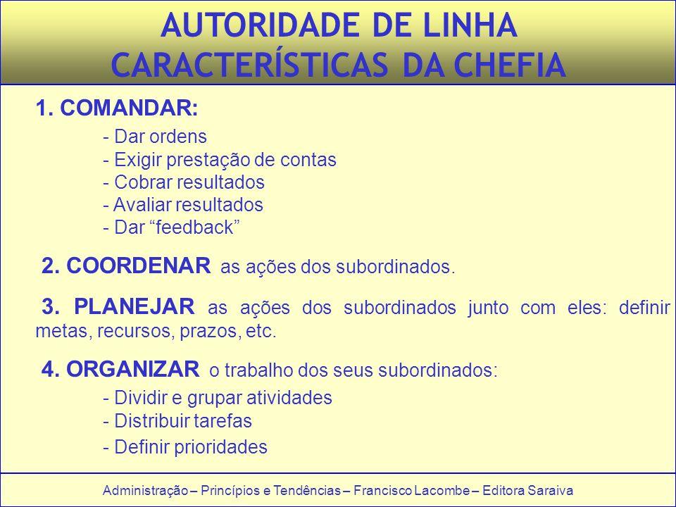 Administração – Princípios e Tendências – Francisco Lacombe – Editora Saraiva AUTORIDADE DE LINHA CARACTERÍSTICAS DA CHEFIA 1.
