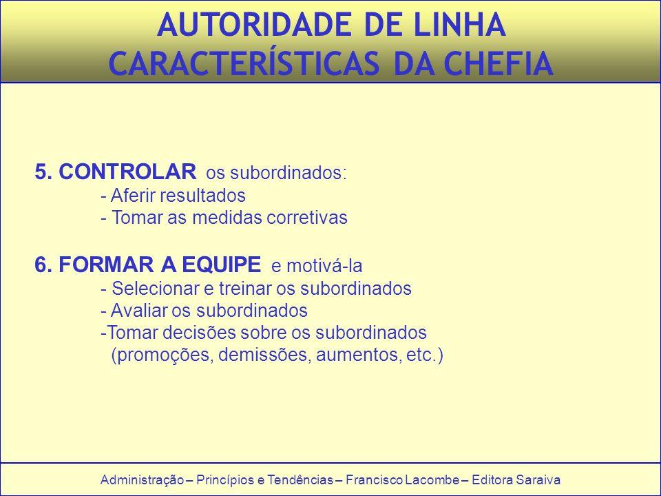 Administração – Princípios e Tendências – Francisco Lacombe – Editora Saraiva 5. CONTROLAR os subordinados: - Aferir resultados - Tomar as medidas cor