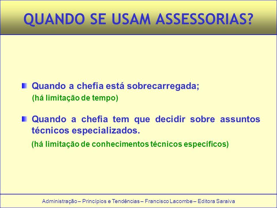 Administração – Princípios e Tendências – Francisco Lacombe – Editora Saraiva QUANDO SE USAM ASSESSORIAS.