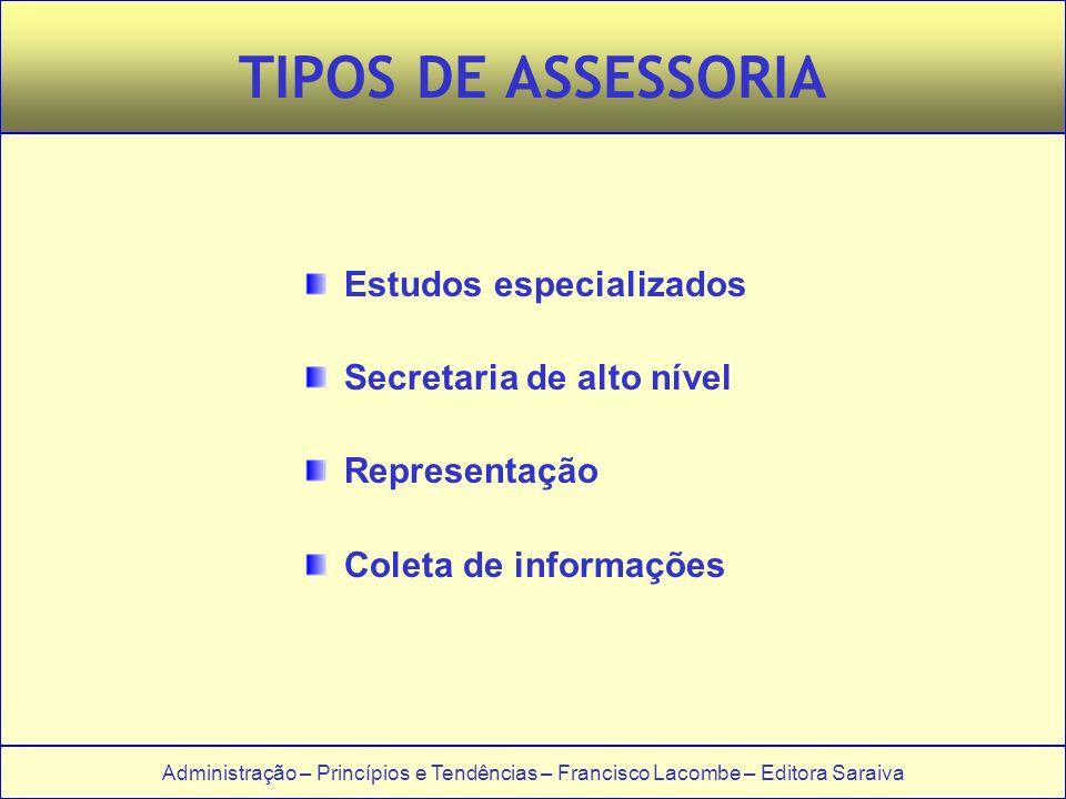 Administração – Princípios e Tendências – Francisco Lacombe – Editora Saraiva TIPOS DE ASSESSORIA Estudos especializados Secretaria de alto nível Repr