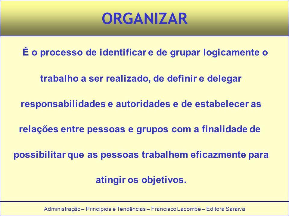 Administração – Princípios e Tendências – Francisco Lacombe – Editora Saraiva ORGANIZAR É o processo de identificar e de grupar logicamente o trabalho