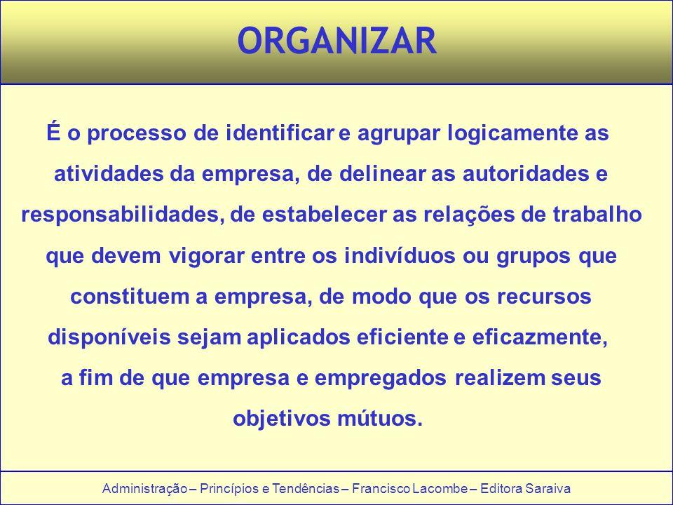 Administração – Princípios e Tendências – Francisco Lacombe – Editora Saraiva ORGANIZAR É o processo de identificar e agrupar logicamente as atividade