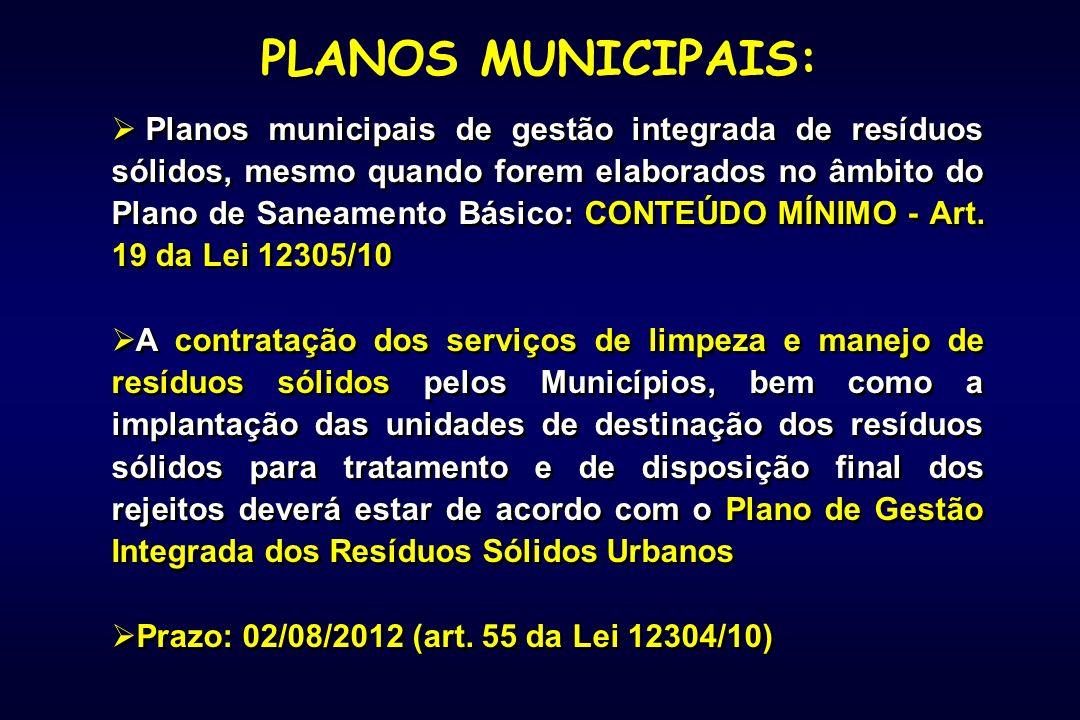 Planos municipais de gestão integrada de resíduos sólidos, mesmo quando forem elaborados no âmbito do Plano de Saneamento Básico: CONTEÚDO MÍNIMO - Art.