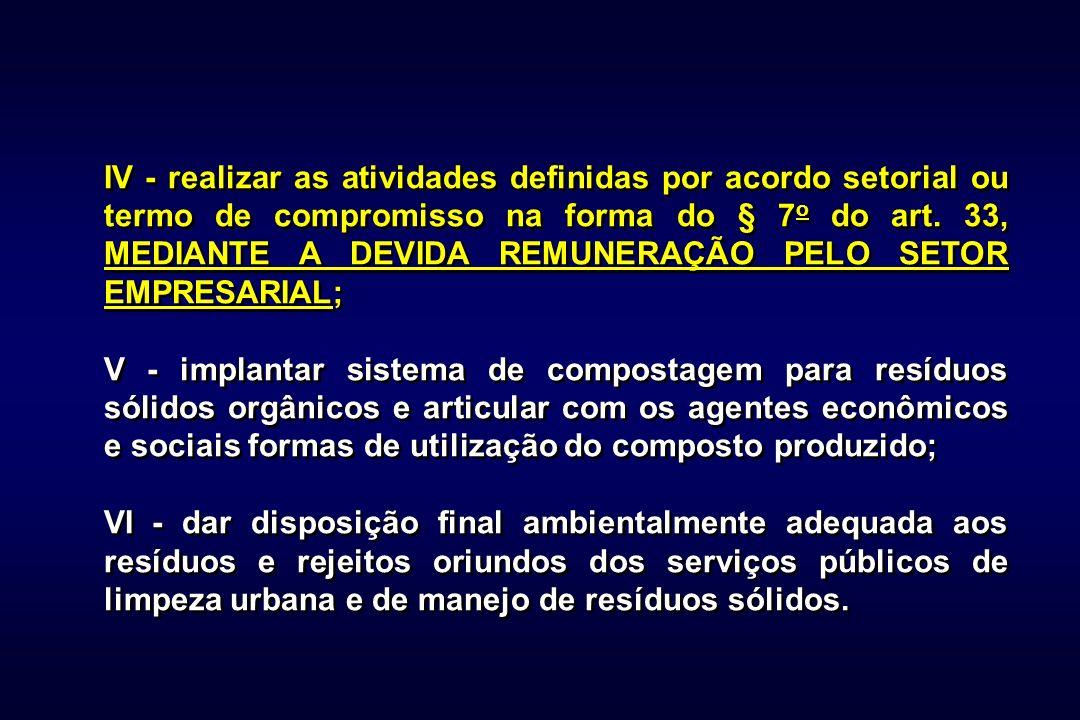 IV - realizar as atividades definidas por acordo setorial ou termo de compromisso na forma do § 7 o do art.