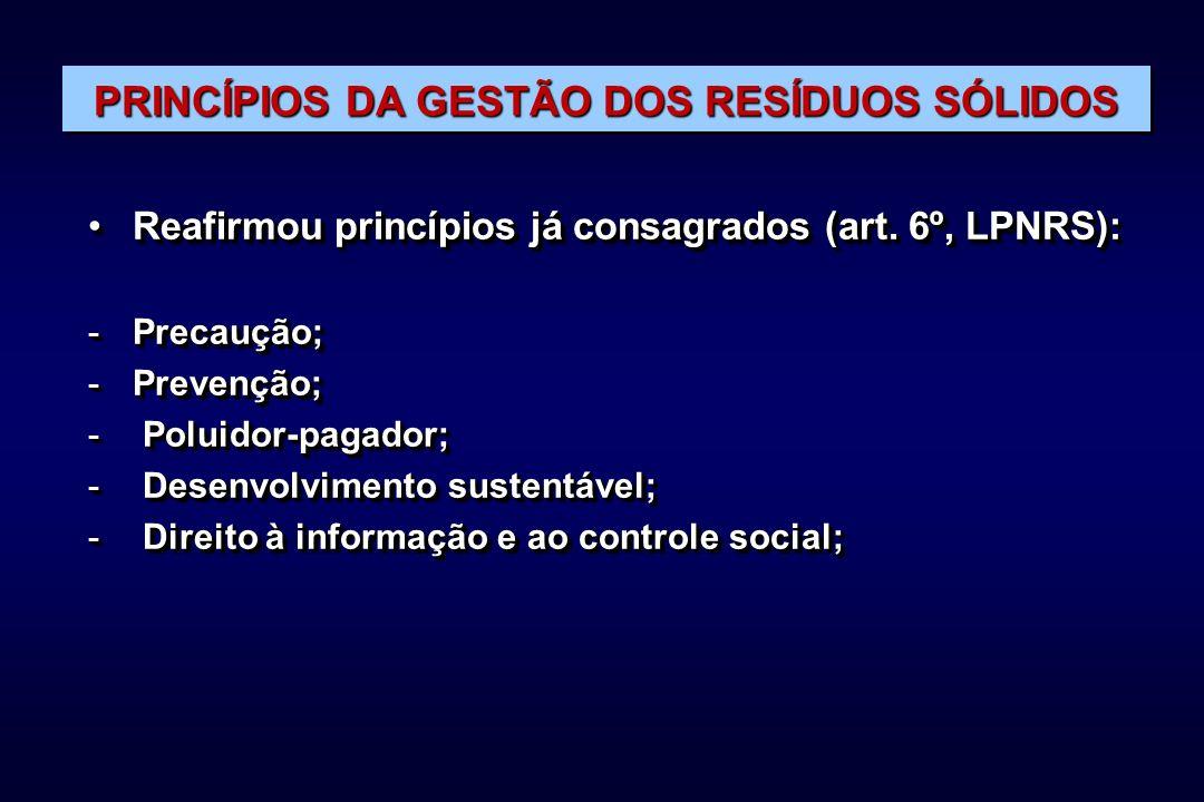 PRINCÍPIOS DA GESTÃO DOS RESÍDUOS SÓLIDOS Reafirmou princípios já consagrados (art.