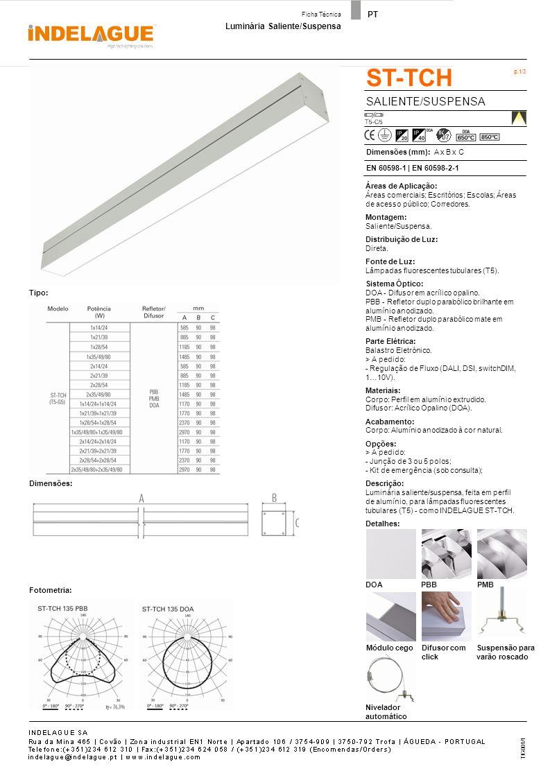 ST-TCH ACESSÓRIOS - Cruzeta - T - Canto Vertical - Canto Horizontal p.2/3 Luminária Saliente/Suspensa Ficha Técnica PT - Topo - União TIG001/1
