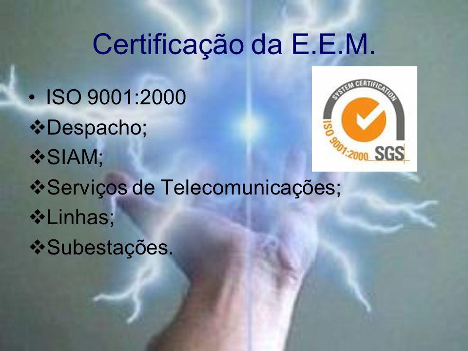 Certificação da E.E.M. ISO 9001:2000 Despacho; SIAM; Serviços de Telecomunicações; Linhas; Subestações.
