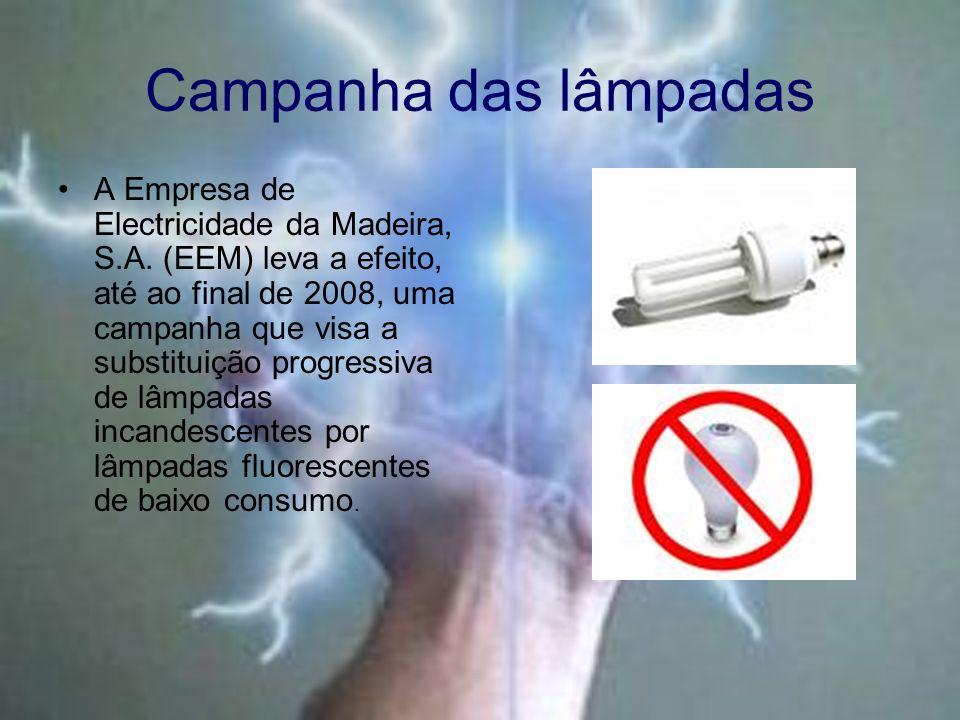 Campanha das lâmpadas A Empresa de Electricidade da Madeira, S.A. (EEM) leva a efeito, até ao final de 2008, uma campanha que visa a substituição prog