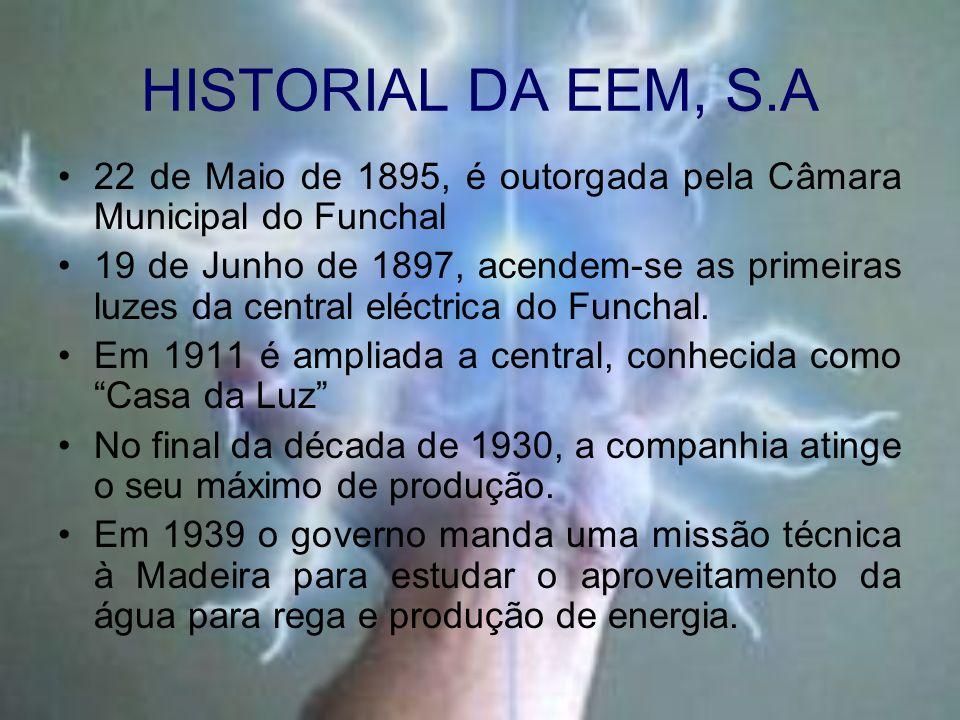 HISTORIAL DA EEM, S.A 22 de Maio de 1895, é outorgada pela Câmara Municipal do Funchal 19 de Junho de 1897, acendem-se as primeiras luzes da central e