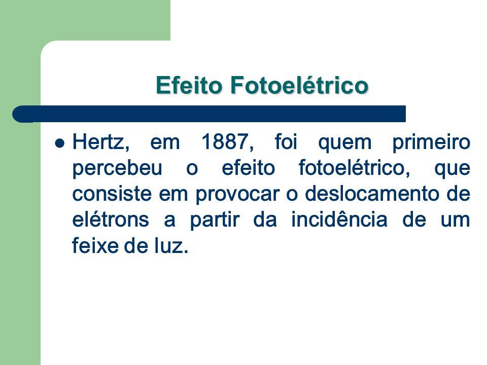 Efeito Fotoelétrico Hertz, em 1887, foi quem primeiro percebeu o efeito fotoelétrico, que consiste em provocar o deslocamento de elétrons a partir da incidência de um feixe de luz.
