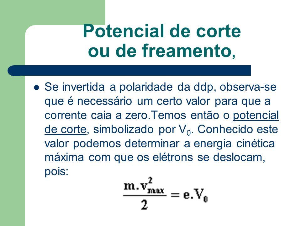 Potencial de corte ou de freamento, Se invertida a polaridade da ddp, observa-se que é necessário um certo valor para que a corrente caia a zero.Temos então o potencial de corte, simbolizado por V 0.