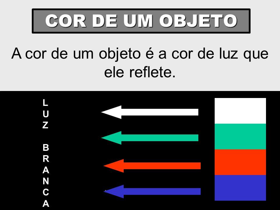 COR DE UM OBJETO A cor de um objeto é a cor de luz que ele reflete. LUZBRANCALUZBRANCA