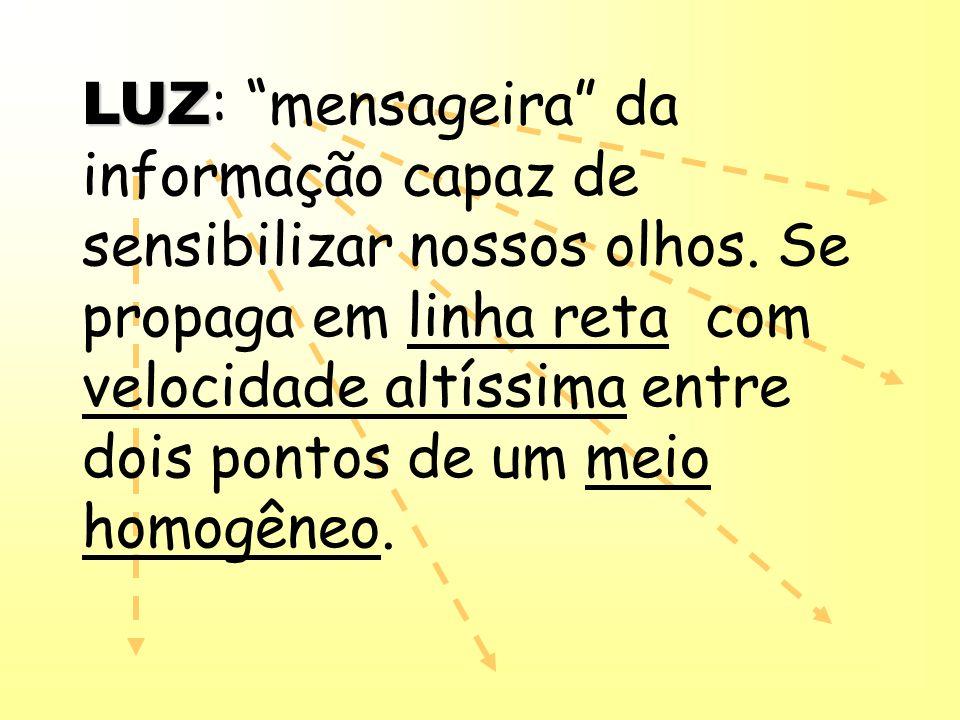 LUZ LUZ : mensageira da informação capaz de sensibilizar nossos olhos. Se propaga em linha reta com velocidade altíssima entre dois pontos de um meio